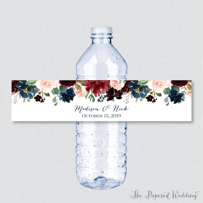 image about Free Printable Wedding Water Bottle Labels known as Printable OR Posted Marriage Drinking water Bottle Labels - Armed forces Marsala Flower Tailor made H2o Bottle Labels - Customized H2o Bottle Labels 0010