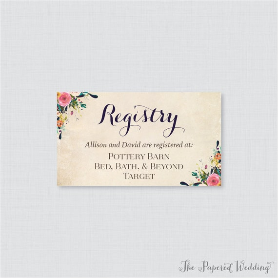 printable or printed wedding registry cards floral wedding etsy