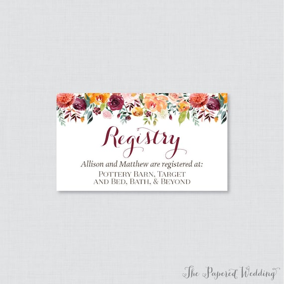 e5719e2a04b printable or printed wedding registry cards fall floral etsy .