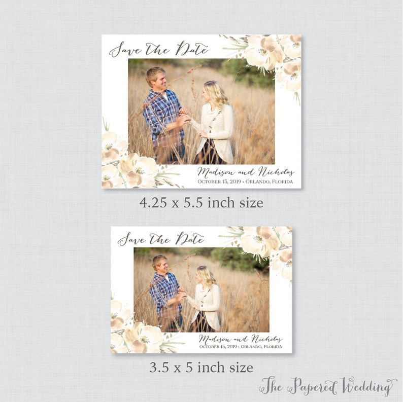 Photo Save the Date Magnets Personalized 0014 Rustic Floral Photo Save our Date Magnets for Wedding White Save the Date Fridge Magnets