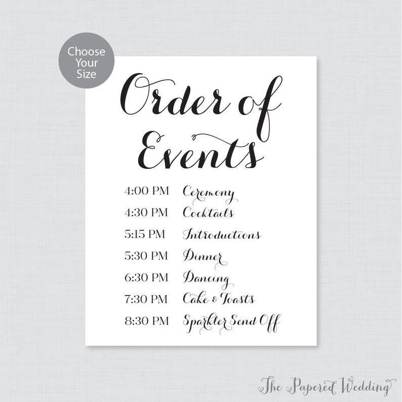 Wedding Reception Order Of Events.Printable Order Of Events Sign Black And White Wedding Order Of Events Sign Classic Wedding Reception Sign Order Of Service Sign 0005