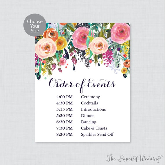 Printable Order Of Events Sign Floral Wedding Order Of Etsy