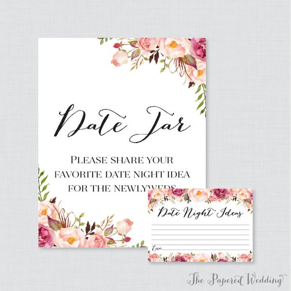 image about Date Night Jar Printable referred to as Printable Day Evening Jar Recreation - Red Flower Day Night time Tips for the Newlyweds - Rustic Red Floral Marriage ceremony Reception Activity/Video game 0004