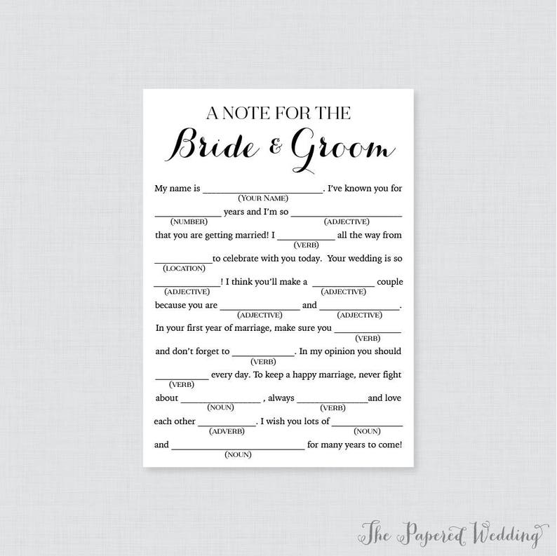 graphic relating to Printable Wedding Mad Libs called Printable Wedding ceremony Ridiculous Libs - Black and White Marriage Crazy Libs Playing cards for Tips - Uncomplicated, Classy Calligraphy Wedding day Reception Sport 0005