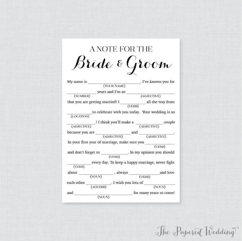picture relating to Wedding Mad Libs Printable identified as Printable Wedding day Crazy Libs - Black and White Marriage Nuts Libs Playing cards for Assistance - Easy, Classy Calligraphy Wedding day Reception Game 0005