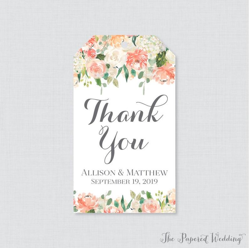 Free Printable Wedding Gift Tags: Printable OR Printed Wedding Favor Gift Tags Peach And