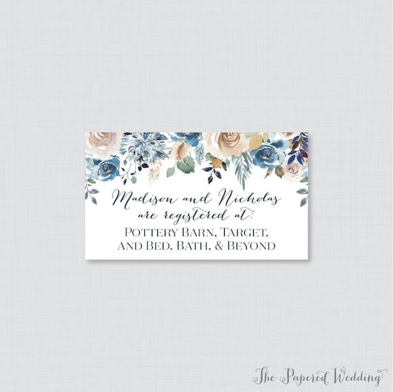 printable or printed wedding registry cards blue floral etsy