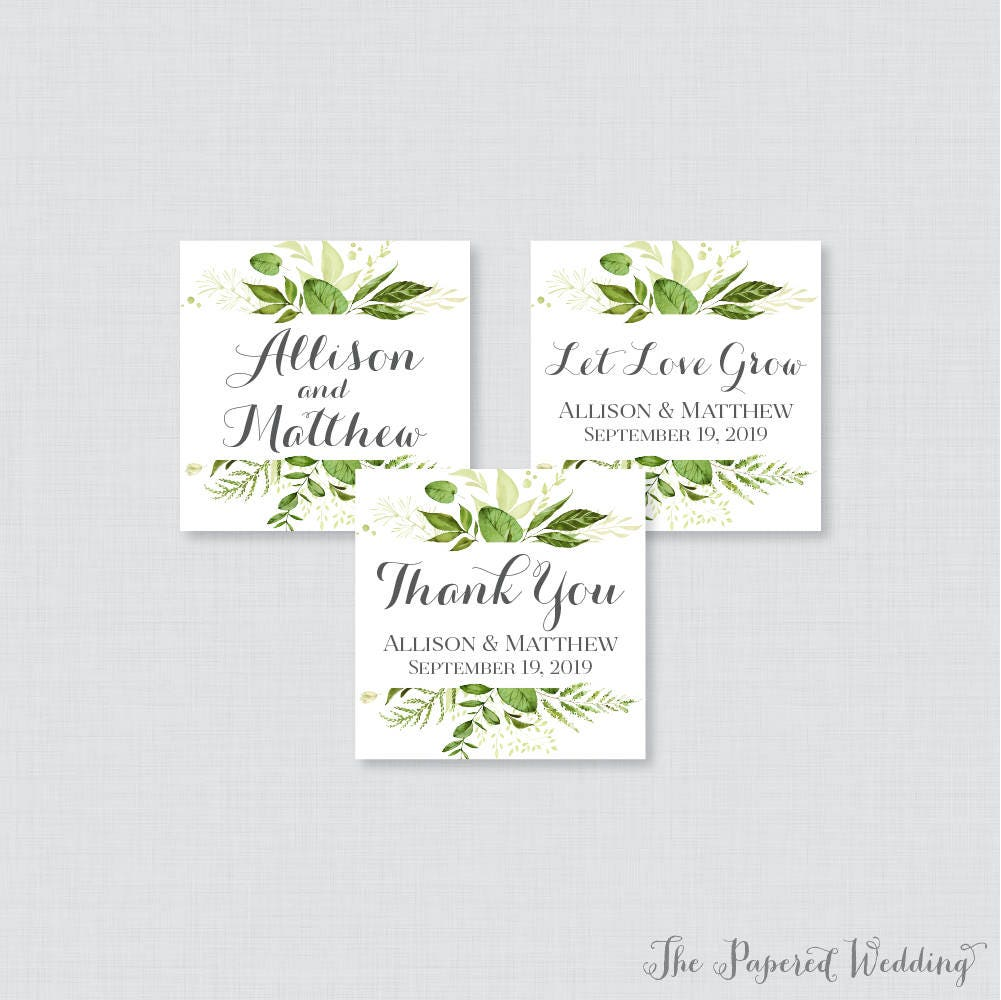 printable or printed wedding stickers greenery square etsy