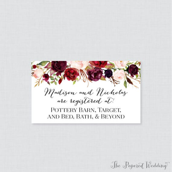 printable or printed wedding registry cards marsala and pink etsy