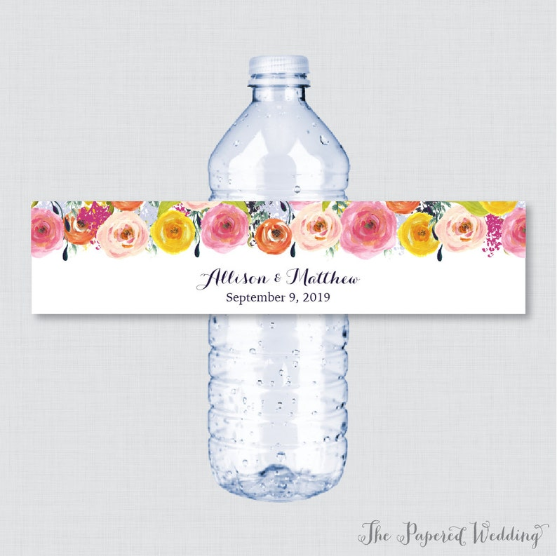 photograph regarding Free Printable Wedding Water Bottle Labels identify Printable OR Published Wedding ceremony Drinking water Bottle Labels - Floral, Personalized Drinking water Bottle Labels - Customized Bottle Labels Colourful Bouquets 0003-B