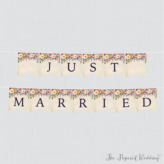 Printable Just Married Banner Floral Just Married Bunting Colorful Flower Just Married Wedding Banner Wedding Car Decorations 0003 A