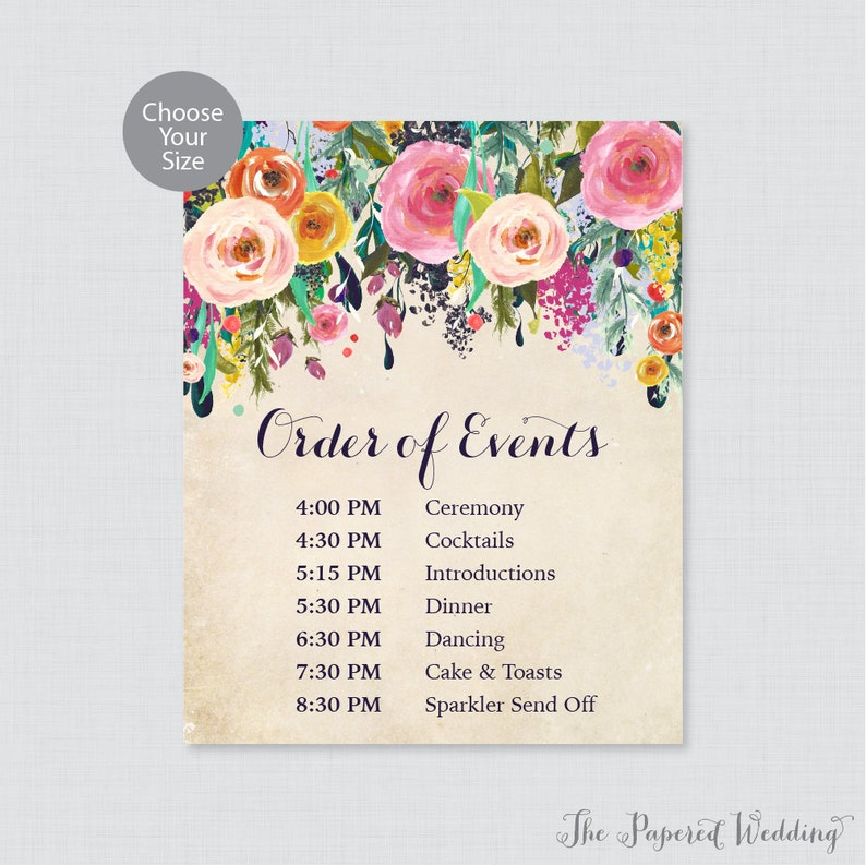 Wedding Reception Order Of Events.Printable Order Of Events Sign Floral Wedding Order Of Events Sign Colorful Flower Wedding Reception Sign Order Of Service Sign 0003 A