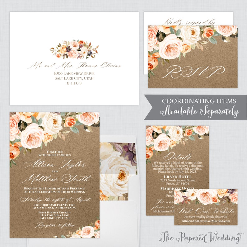 Rustic Autumn Fall Floral Sign 0028 Pink Flower Sign the Guest Book Sign Orange Printable Rustic Floral Wedding Guest Book Sign Kraft