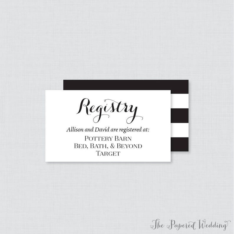 Etsy Wedding Registry.Printable Or Printed Wedding Registry Cards Black And White Wedding Registry Invitation Inserts Calligraphy Registry Inserts 0005