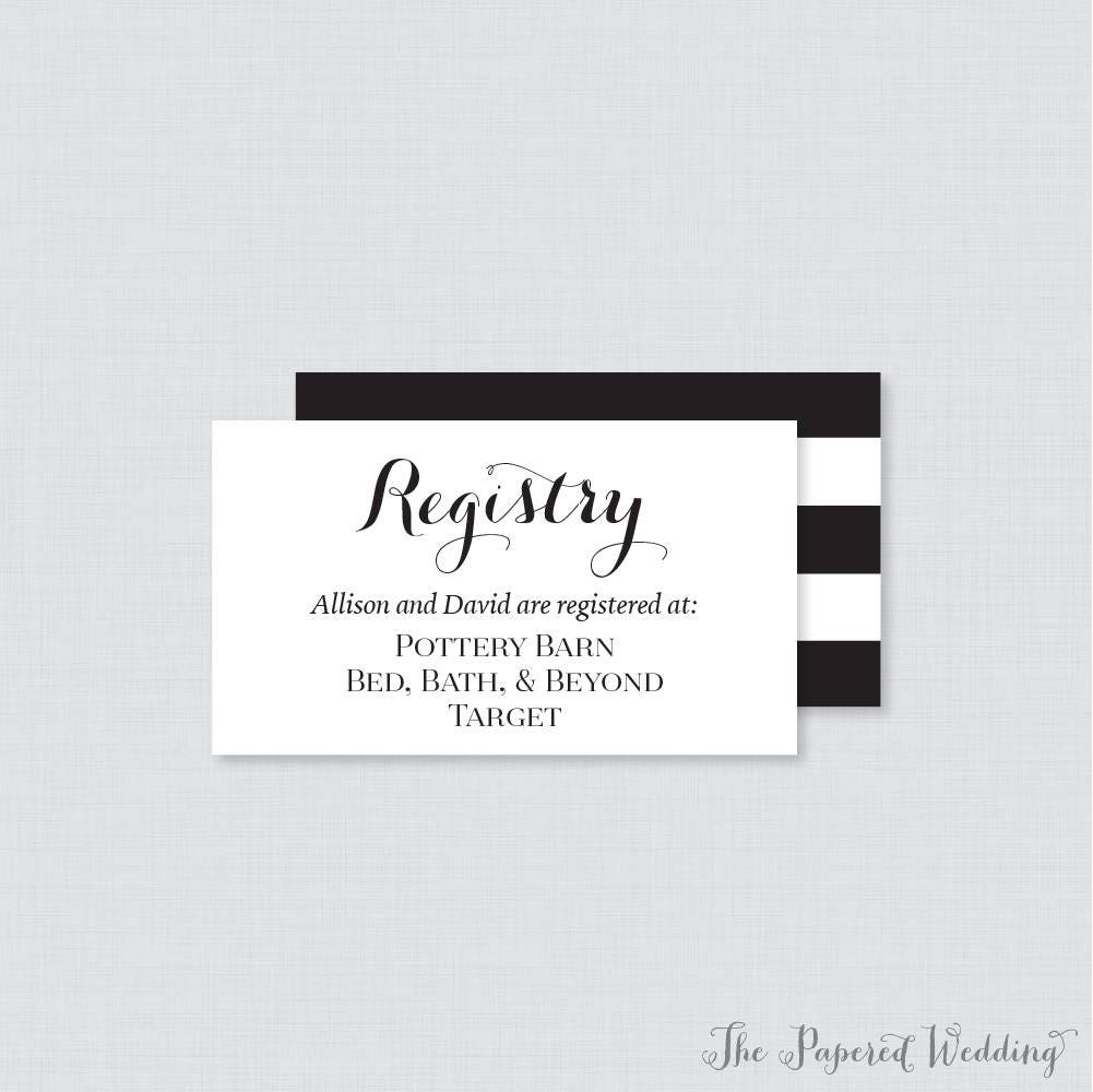 printable or printed wedding registry cards black and white