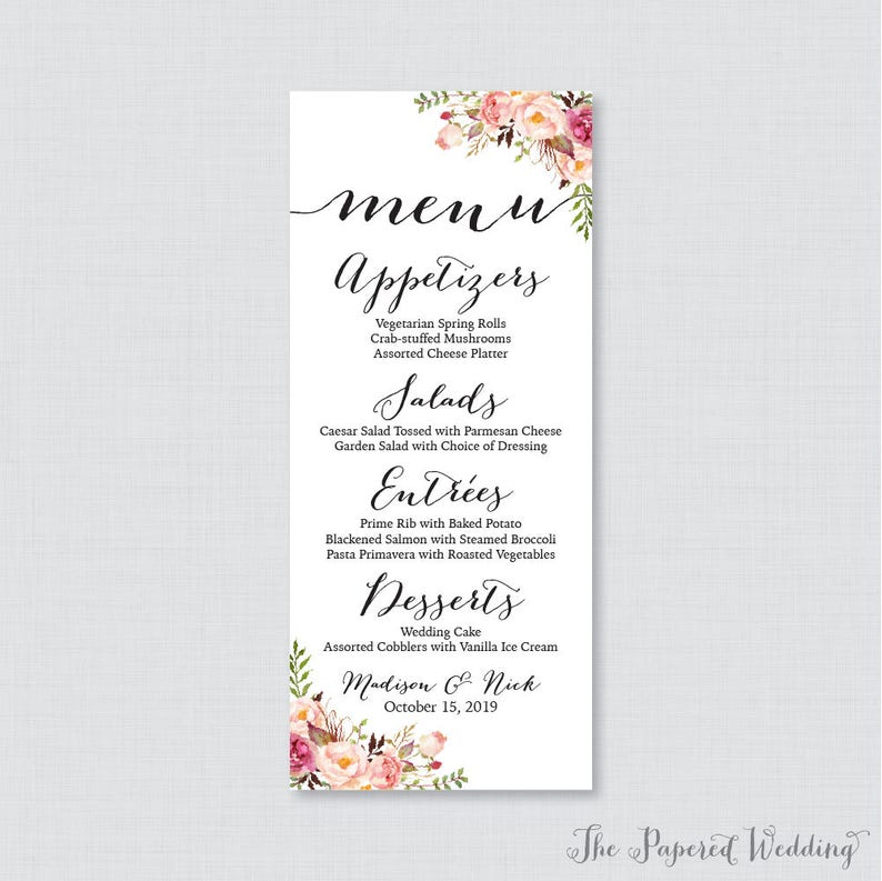 picture about Printable Menu Cards called Printable OR Released Marriage ceremony Menu Playing cards - Crimson Floral Marriage Menu Card, Rustic Flower Menu Playing cards for Marriage inside 4 x 9.25 Measurement 0004