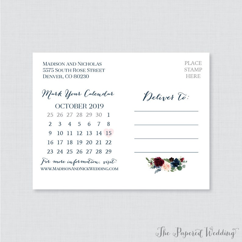 Rustic Pink Flower Save the Dates 0010 Printable OR Printed Save the Date Postcards Marsala Floral Save the Date Postcards for Wedding