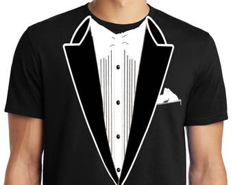 edae5db3 PubliciTeeZ Big and Tall King Size Classic Funny Tuxedo T-Shirt
