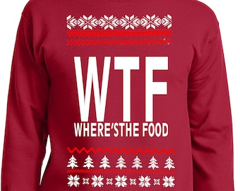 0451040c LiberTEES Big and Tall King Size Funny WTF Where's The Food Ugly Faux  Christmas Sweater