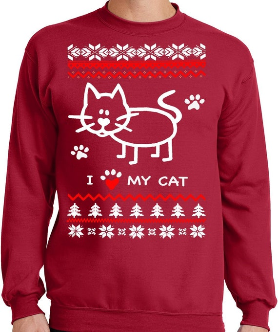Big And Tall Ugly Christmas Sweater.Big Guys Rule Big And Tall King Size Funny I Heart Love My Cat Ugly Faux Christmas Sweater