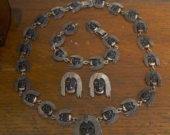 Silver Tone African Tribe Woman Braided Head Ethiopian Warrior Woman Head Necklace Earring Bracelet Jewelry Set of 3