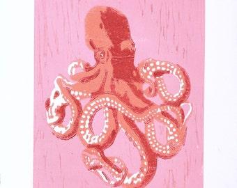 Octopus Woodblock Print