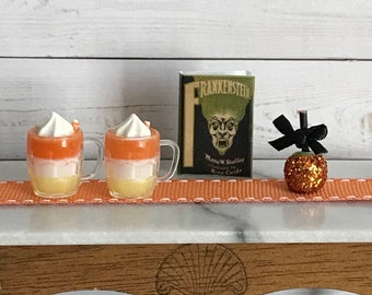 Miniature Halloween 1:12 Dollhouse 4 Piece Set, 2 Candy Corn Lattes, Mini Frankenstein Book & Glittered Candy Apple, Haunted Dollhouse Decor