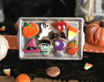 Miniature Halloween Dollhouse Cookie Tray w/ Decorated Cutout Cookies on Silver Tray, Witch Hat, Frankenstein, Cookies, Haunted Dollhouse