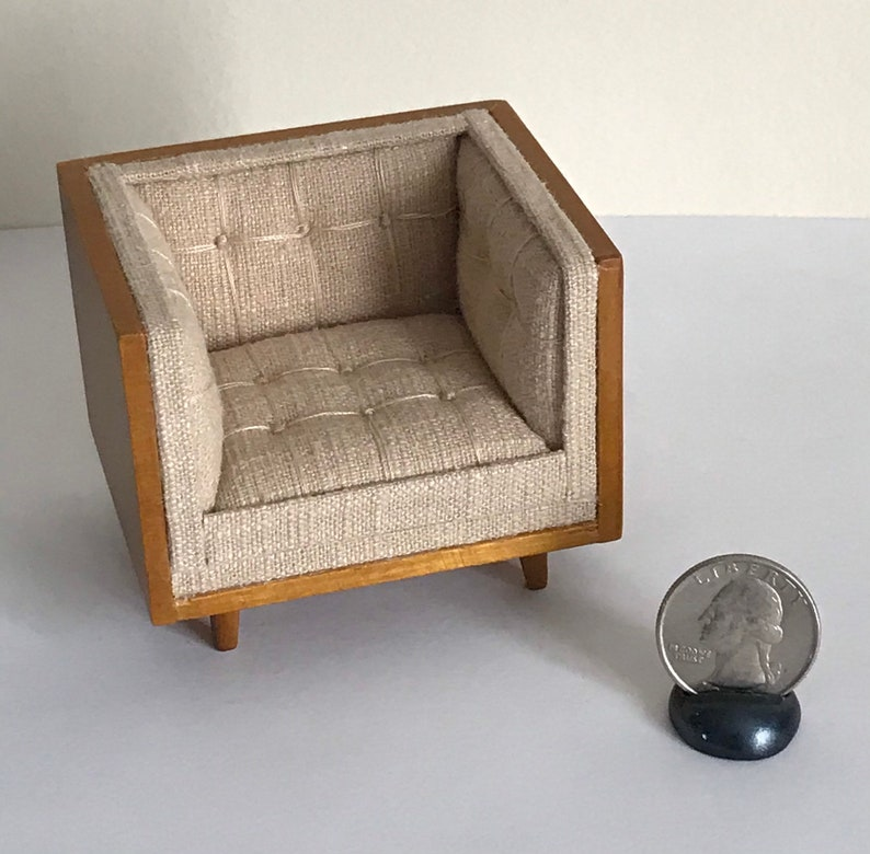 Miniature Dollhouse 1:12 Scale JBM Mid-Century Modern Tan Linen Chaise or Chair Modern Upholstered Dollhouse D\u00e9cor