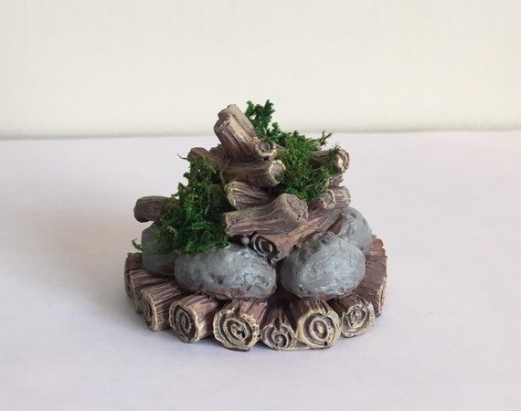 Miniature Dollhouse FAIRY GARDEN ~ Mini Resin Campfire with Moss ~ NEW