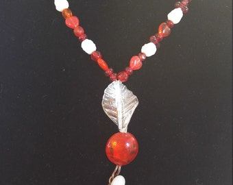 Quartz and red bead necklace