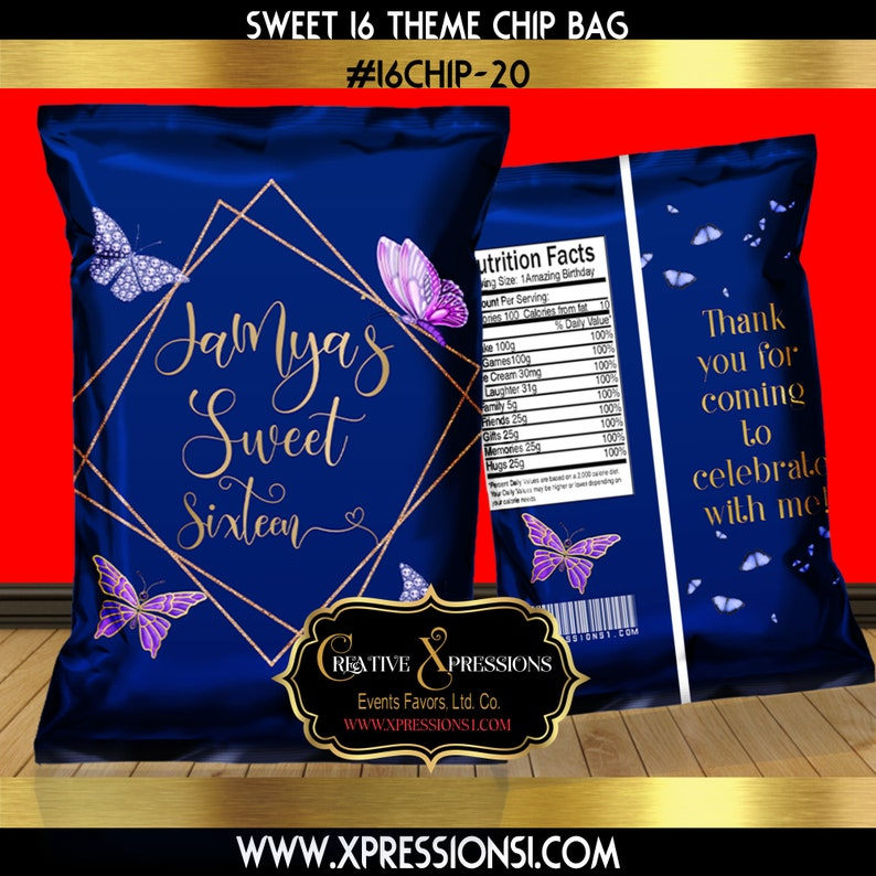 Blue and Gold Chip Bag Sweet 16 Butterfly Theme Birthday Chip Bag Butterfly Theme Chip Bag Emailed File