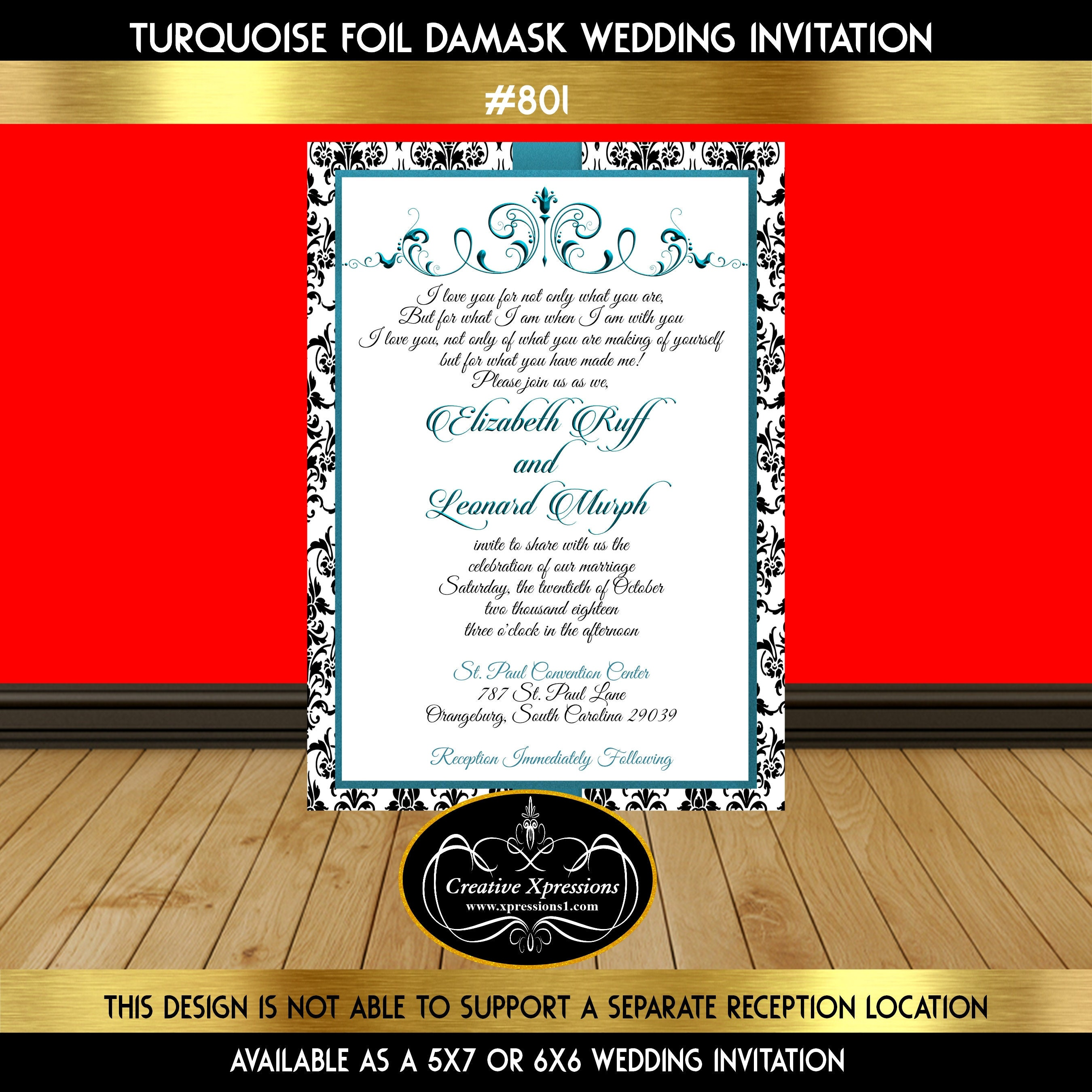 Turquoise Foil Damask Wedding Invitation Turquoise and Black | Etsy