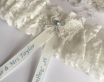 d52f7b843573 Personalised Wedding Garter, blue and Ivory, butterfly design, available in  S/M & Plus size / Large
