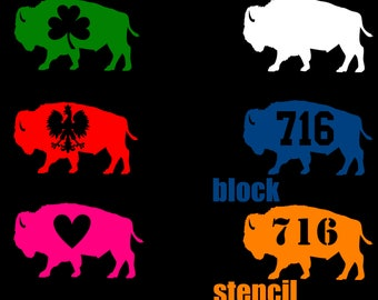 ab5f6091ef0d4 Buffalo NY 716 Standing Bison Car Vinyl Car decals Die Cut Phone Laptop