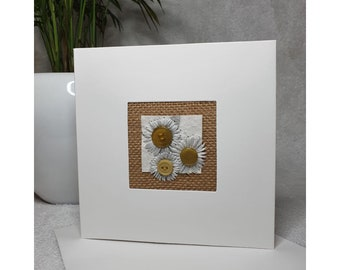 Hand stitched daisies card, made in the UK