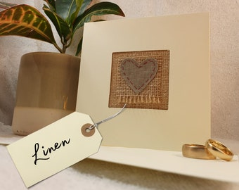 Fourth wedding anniversary card with real linen, handmade in the UK