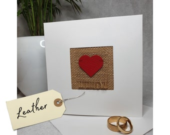 Grain leather 3rd wedding anniversary card | handmade in the UK