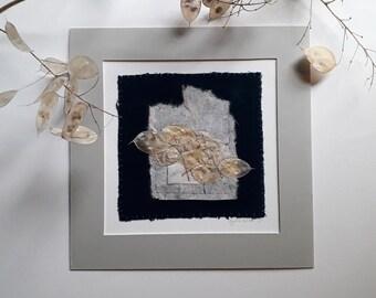 Honesty (Lunaria Annua) seed pods hand stitched to handmade paper & teal velvet | 10 x 10 mount | unframed artwork