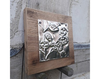 Hand embossed pewter foil honesty (lunaria annua) seed pods picture | rustic metal art