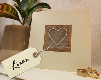 Hand stitched linen 4th wedding anniversary card | made in the UK
