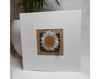 Hand stitched textile oxeye daisy card, made in the UK