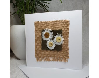 Hand stitched daisies blank greeting card