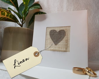Heart linen wedding anniversary card - perfect for 4th anniversary, handmade in the UK