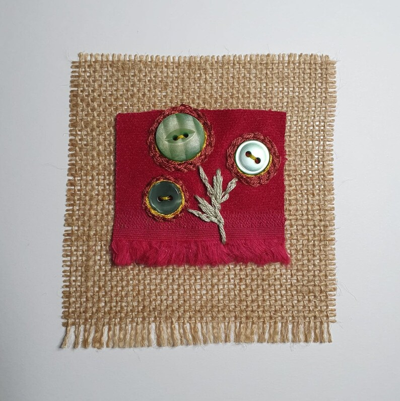 Get Well Soon Stylised flowers hand stitched Mother/'s Day card Missing You Sympathy