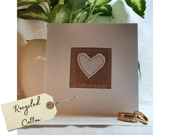 Cotton wedding anniversary card, handstitched in the UK