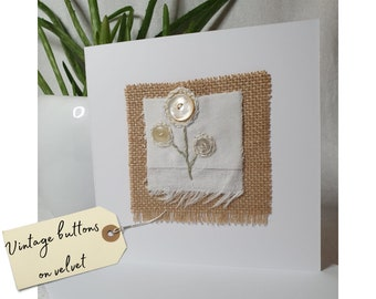 Hand stitched stylised flowers blank Mother's Day card | Get Well Soon | Sympathy | Missing You