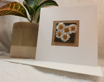 Hand stitched small daisies card, made in the UK