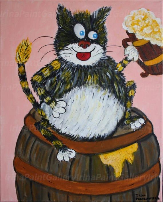 Beer Drinking Cat Cartoon Cat World S Cat Cat Painting Etsy