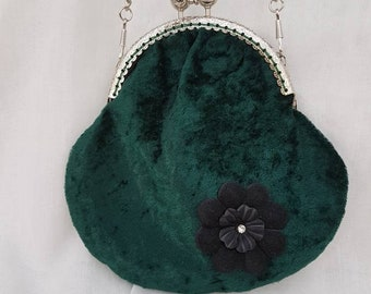 Dark Green Crushed Velvet Kiss Clasp Purse/Small Clutch/Prom Bag/Wedding Bag/Special Occasions bag/Evening's Out Bag